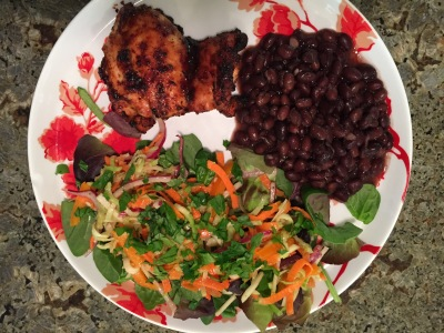 Broccoli and Carrot salad, black beans and a side of chicken.